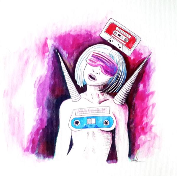 """Retro-New-Wave-Girl"" Kunstdruck"