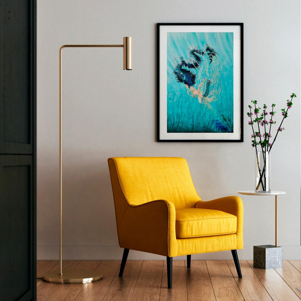Auftragsarbeit, Acryl und 12 Karat Weißgold auf Leinwand, 2020-2021, Essen, 50cm x 60 cm